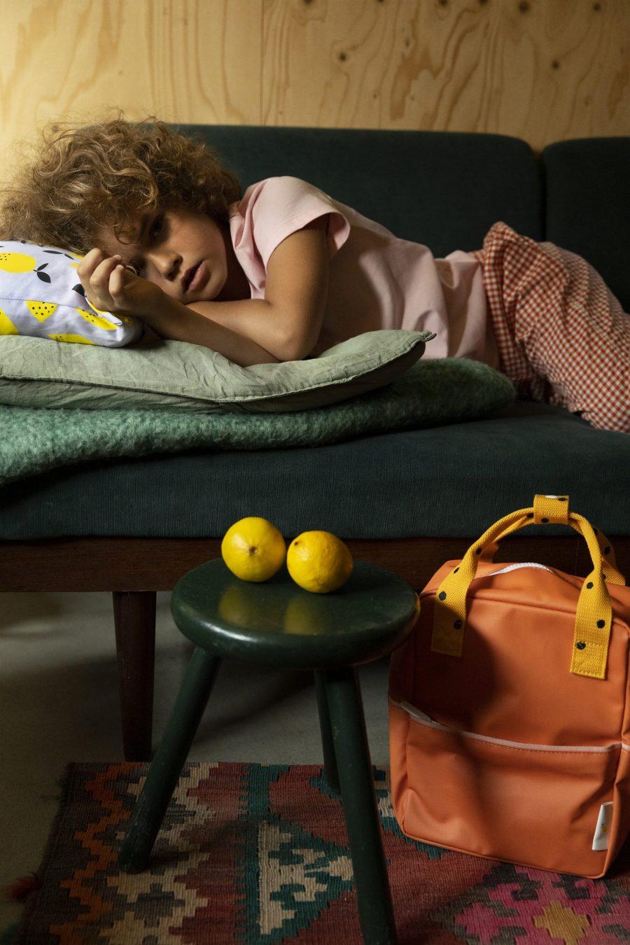 1801639 – Sticky Lemon – backpack small – freckles – carrot orange + sunny yellow – style shot 0