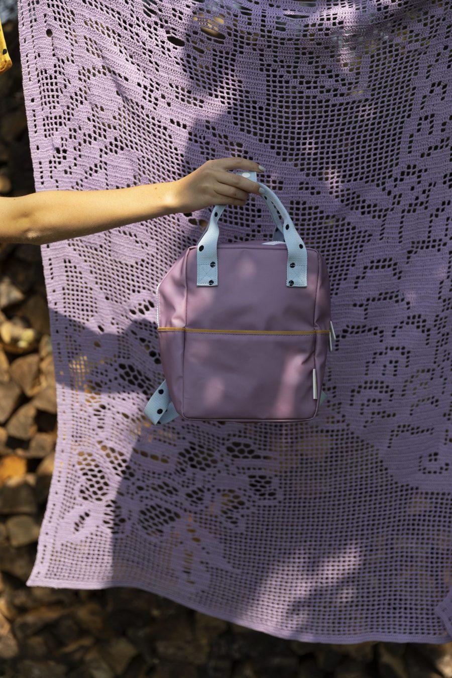 1801641 – Sticky Lemon – backpack small – freckles – pirate purple + sky blue – style shot 02
