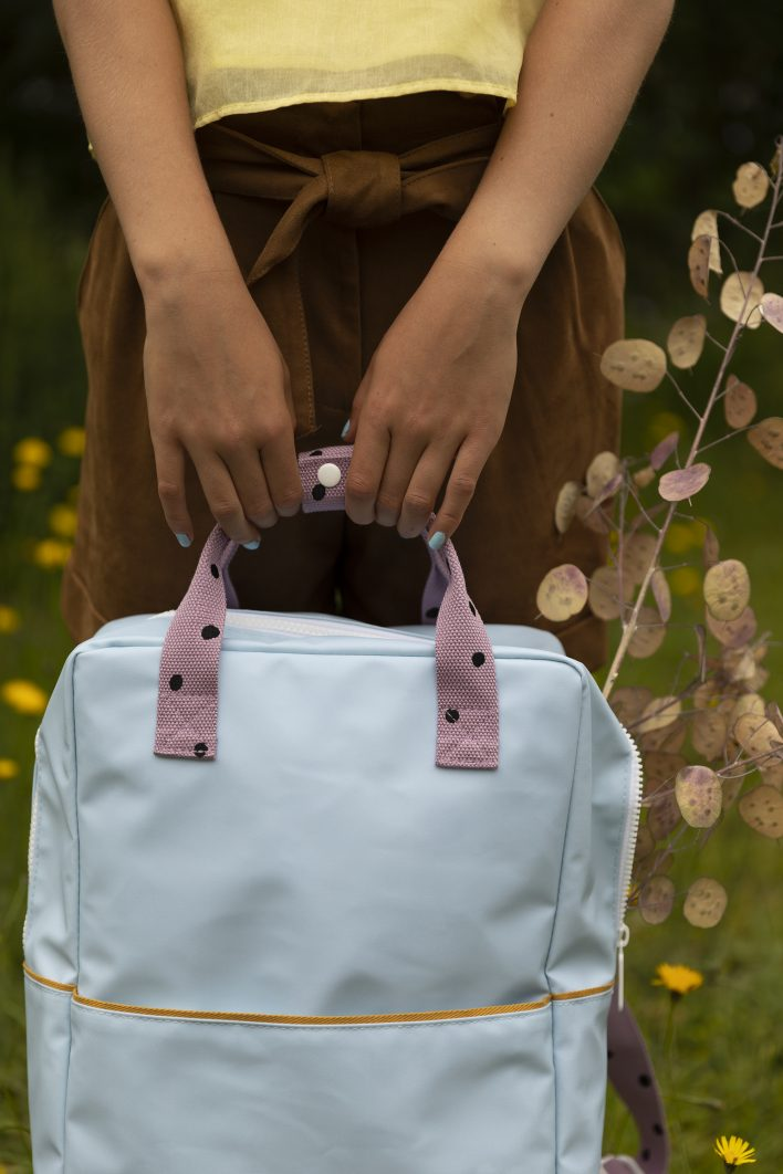 1801645 – Sticky Lemon – backpack large – freckles – sky blue + pirate purple – style shot 03