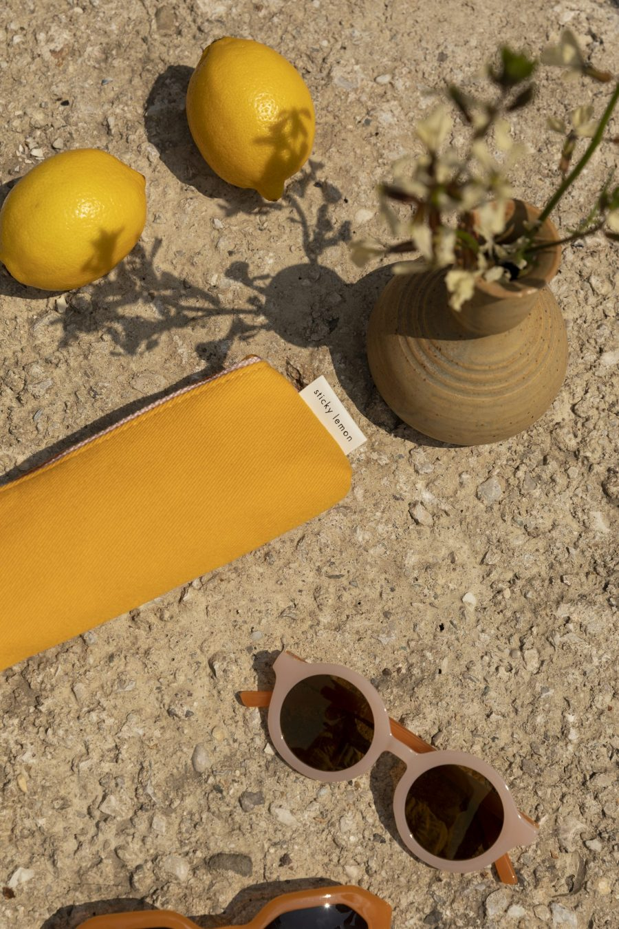 1801654 – Sticky Lemon – pencil case – freckles – sunny yellow + candy pink – style shot 01