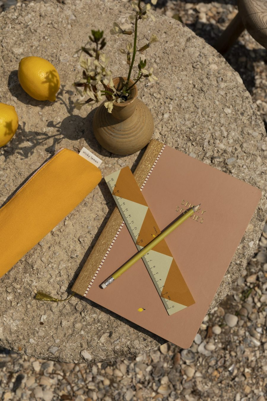 1801654 – Sticky Lemon – pencil case – freckles – sunny yellow + candy pink – style shot 02
