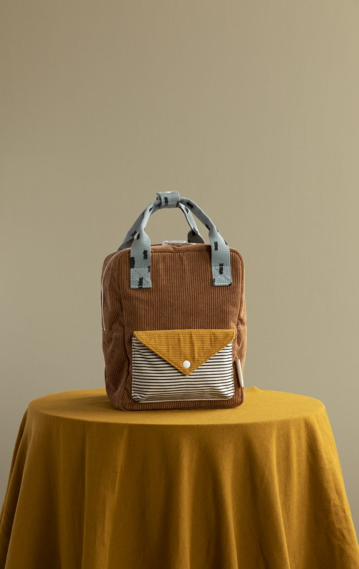 1801814 – Sticky Lemon – style photography – corduroy – small backpack – walnut brown + marigold