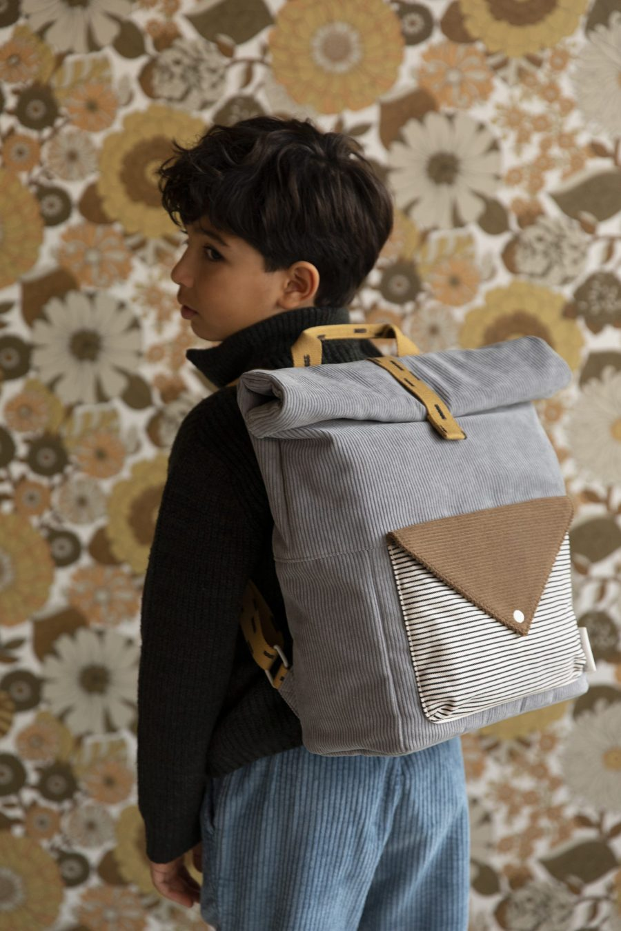 1801818 – Sticky Lemon – style photography – corduroy – large backpack – pigeon blue + woody gre