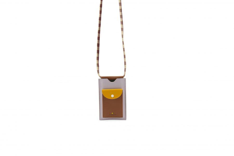 1801907 – Sticky Lemon – phone pouch – chocolate sundae – daisy yellow – mauve lilac – hanging