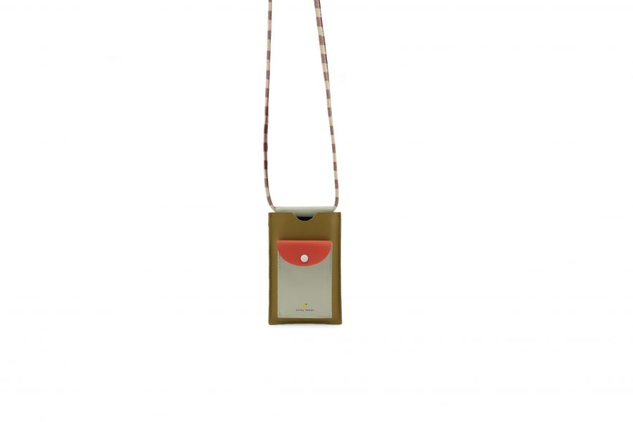 1801908 – Sticky Lemon – phone pouch – pool green – apple red – leaf green – hanging